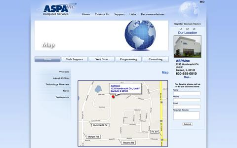 Screenshot of Maps & Directions Page aspainc.com - ASPAinc - PC and Network Tech Support, Web Sites, Computer Programming and IT Consulting - Map - captured Sept. 30, 2014