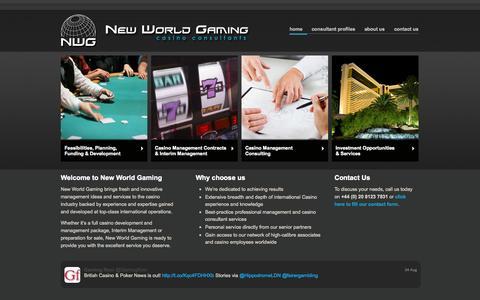 Screenshot of Home Page newworld-gaming.com - Casino Consultants - Casino Management - captured Sept. 30, 2014
