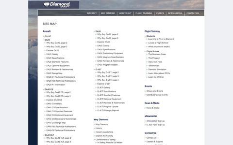 Screenshot of Site Map Page diamondaircraft.com - Diamond Aircraft - captured Sept. 19, 2014