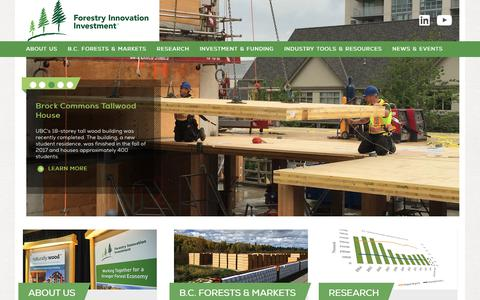 Screenshot of Home Page bcfii.ca - Homepage   Forestry Innovation Investment Ltd. - captured Oct. 14, 2017