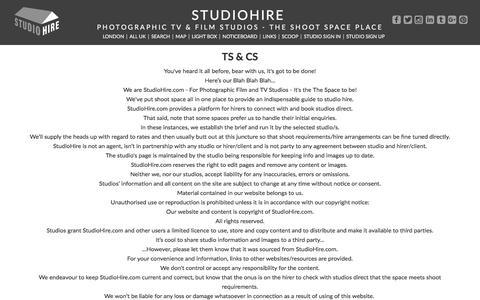 Screenshot of Terms Page studiohire.com - STUDIOHIRE - Ts & Cs - captured July 9, 2018