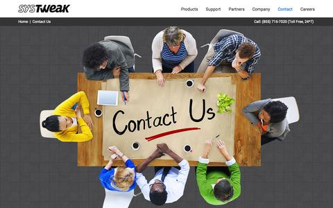 Screenshot of Contact Page systweak.com - Contact Systweak Software for Help - captured Nov. 24, 2015