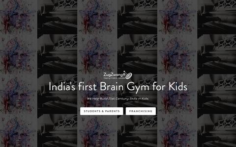 Screenshot of Home Page zugzwang.in - ZugZwang Academy | India's first Brain Gym for Kids - captured Nov. 17, 2018