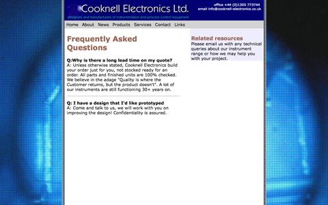 Screenshot of FAQ Page cooknell-electronics.co.uk - Frequently Asked Questions - captured Sept. 30, 2014