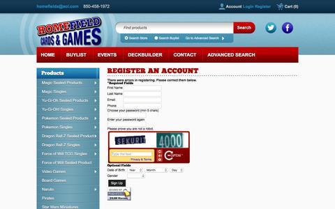 Screenshot of Signup Page crystalcommerce.com - Home Field Cards & Games - - captured Nov. 10, 2016