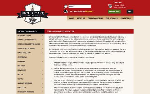 Screenshot of Terms Page richcoast.com - Rich Coast | Coffee & Tea - captured Oct. 7, 2014
