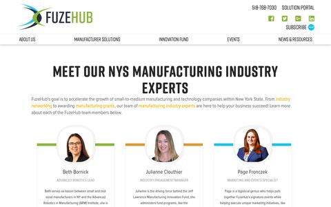 Screenshot of Team Page fuzehub.com - Meet FuzeHub's Team | New York Manufacturing Industry Experts - captured May 26, 2019