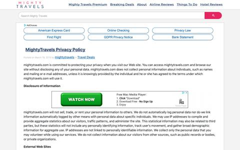 Screenshot of Privacy Page mightytravels.com - MightyTravels Privacy Policy | MightyTravels - captured Oct. 6, 2018