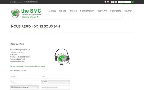 "Screenshot of Contact Page thesmc.com - ""NOUS RÉPONDONS SOUS 24H 