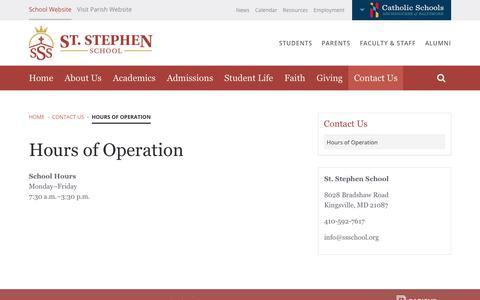 Screenshot of Hours Page ssschool.org - Hours of Operation | St. Stephen School - captured Oct. 25, 2018