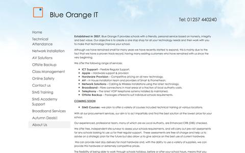 Screenshot of About Page blueorangeit.co.uk - About Us - captured Oct. 5, 2014