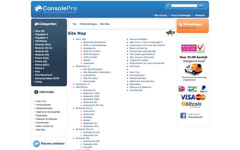 Screenshot of Site Map Page consolepro.nl - ConsolePro - captured Sept. 30, 2014