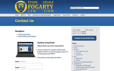 Screenshot of Contact Page fogartylaw.ca - Contact Us | Fogarty Law Firm Montreal - captured Oct. 6, 2014