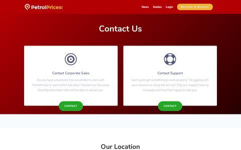 Screenshot of Contact Page petrolprices.com - Contact | PetrolPrices.com - captured Sept. 27, 2018