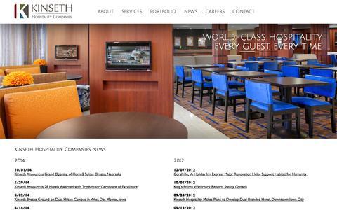Screenshot of Press Page kinseth.com - Kinseth Hospitality Companies News - captured Oct. 6, 2014