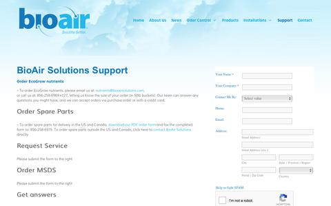 Screenshot of Support Page bioairsolutions.com - BioAir Solutions Support | BioAir Solutions, LLC - captured Oct. 10, 2017
