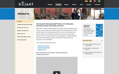Screenshot of Products Page rajant.com - Rajant Corporation  » Wireless Portable Mesh Networks - captured Sept. 17, 2014