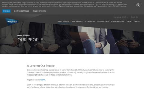 Screenshot of Team Page webhelp.com - Our people make Webhelp a great place to work - captured Sept. 21, 2018