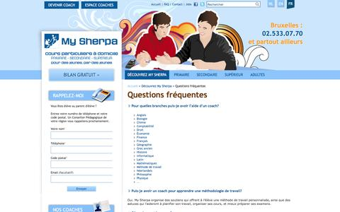 Screenshot of FAQ Page mysherpa.be - Questions fréquentes | My Sherpa - captured Dec. 17, 2016