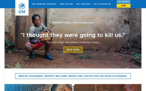 Screenshot of Home Page ijm.org - International Justice Mission | Rescue Thousands. Protect Millions. Prove that justice for the poor is possible. - captured Jan. 14, 2016