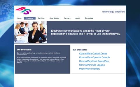Screenshot of Products Page bts.co.uk - BTS is a specialist in contact centres, operator consoles, call logging, directory solutions and database integration. - captured Oct. 5, 2014