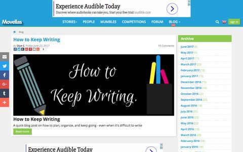 Screenshot of Blog movellas.com - Editors Blogs - Movellas - captured June 24, 2017