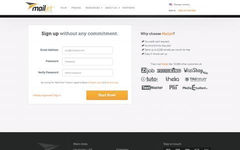 Screenshot of Signup Page mailjet.com - Sign up for free - Mailjet - captured Sept. 16, 2014