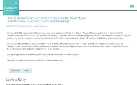 Screenshot of Services Page elementsgs.com - Juan Laxalt, our new HR Services Delivery Program Manager | Blog - captured Jan. 20, 2020