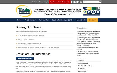 Screenshot of Maps & Directions Page portfourchon.com - Driving Directions | Greater Lafourche Port Commission - captured Nov. 14, 2016
