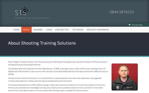 Screenshot of About Page shootingtrainingsolutions.co.uk - Shooting Training Solutions | Firearms Training, Pistol and Weapons Courses | About Shooting Training Solutions - captured Dec. 21, 2017