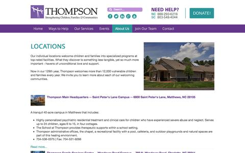Screenshot of Locations Page thompsoncff.org - Locations | Thompson | North Carolina and South Carolina - captured April 22, 2016
