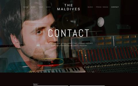 Screenshot of Contact Page themaldivesmusic.com - Contact — The Maldives - captured May 21, 2016