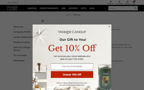 Screenshot of About Page yankeecandle.com - About Us | Yankee Candle - captured Feb. 10, 2020