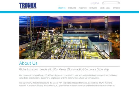 Screenshot of About Page tronox.com - About Us – Tronox - captured June 21, 2018