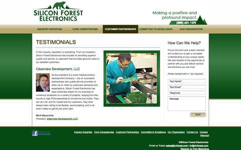 Screenshot of Testimonials Page siliconforestelectronics.com - Silicon Forest Electronics - Testimonials - captured Oct. 26, 2014