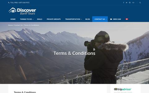 Screenshot of Terms Page banfftours.com - Terms & Conditions - Discover Banff Tours - captured Oct. 12, 2017