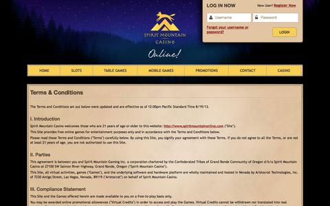 Screenshot of Terms Page spiritmountainonline.com - Terms & Conditions | Spirit Mountain Casino - captured July 2, 2016