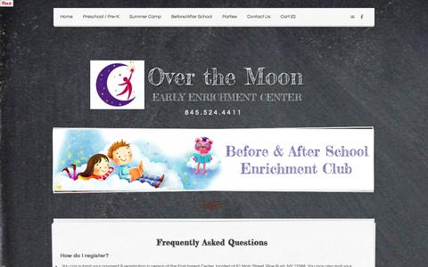Screenshot of FAQ Page overthemoonenrichment.com - Frequently Asked Questions - Over the Moon - captured Oct. 9, 2014