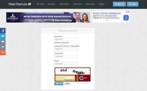 Screenshot of Signup Page readstartups.com - Online platform for Startups, Business Ideas, Entrepreneurs, Startup tools | Read Startups - captured Oct. 31, 2014