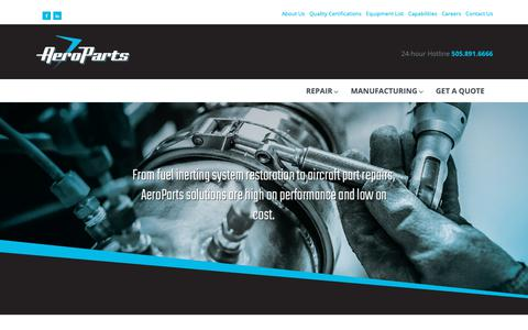 Screenshot of Home Page aeroparts.aero - Aircraft Component Repair | Aircraft Ozone Converter repair - captured Nov. 12, 2018