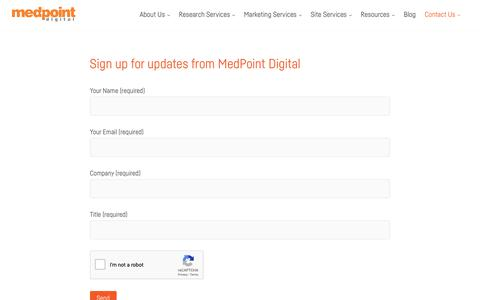 Screenshot of Signup Page medpt.com - Subscribe to MedPoint Updates | MedPoint Digital - captured Dec. 20, 2018