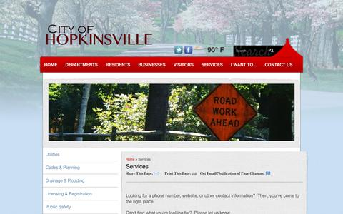 Screenshot of Services Page hoptown.org - Services - Hopkinsville, KY - captured June 24, 2016