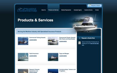 Screenshot of Services Page muins.com - Services - Marine Underwriters Insurance - captured Oct. 3, 2014