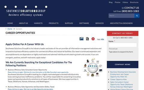 Screenshot of Jobs Page southwestsolutions.com - Career Opportunities - captured Jan. 15, 2016