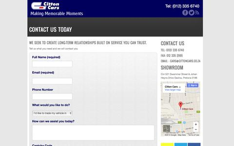 Screenshot of Contact Page Maps & Directions Page cittoncars.co.za - Contact Us Today - | Citton Cars Gezina - Citton Cars - captured Dec. 5, 2015