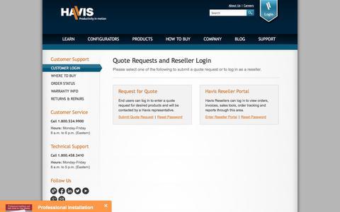 Screenshot of Login Page havis.com - Havis Customer Support | Quote Requests and Reseller Login - captured Sept. 25, 2018