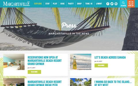 Screenshot of Press Page margaritaville.com - Press | Jimmy Buffett's Margaritaville - captured Jan. 26, 2017