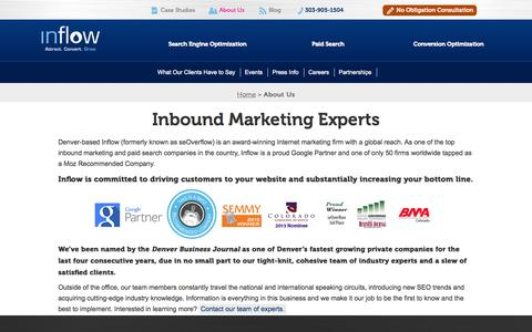 Screenshot of About Page goinflow.com - About Inflow – Inbound Marketing Experts - Denver, CO Formerly seOverflow - captured Sept. 23, 2014