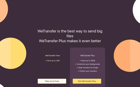 Screenshot of Home Page wetransfer.com - WeTransfer - captured Feb. 10, 2018