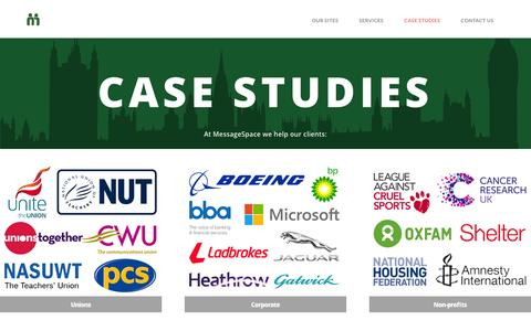 Screenshot of Case Studies Page messagespace.co.uk - Case Studies | MessageSpace - captured Aug. 10, 2016